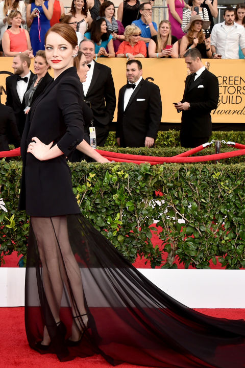 Emma Stone in Dior Couture at 2015 SAG Awards