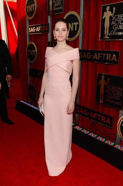 Felicity Jones in Balenciaga at 2015 SAG Awards