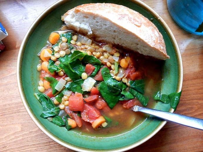Vegan Dinner: Vegetable Lentil and Curry Soup