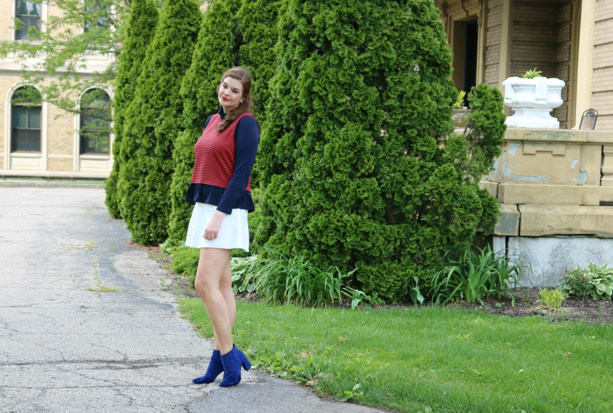 Team American Style I JCrew Peplum Tank with Who What Wear x Target Booties I DreaminLace.com