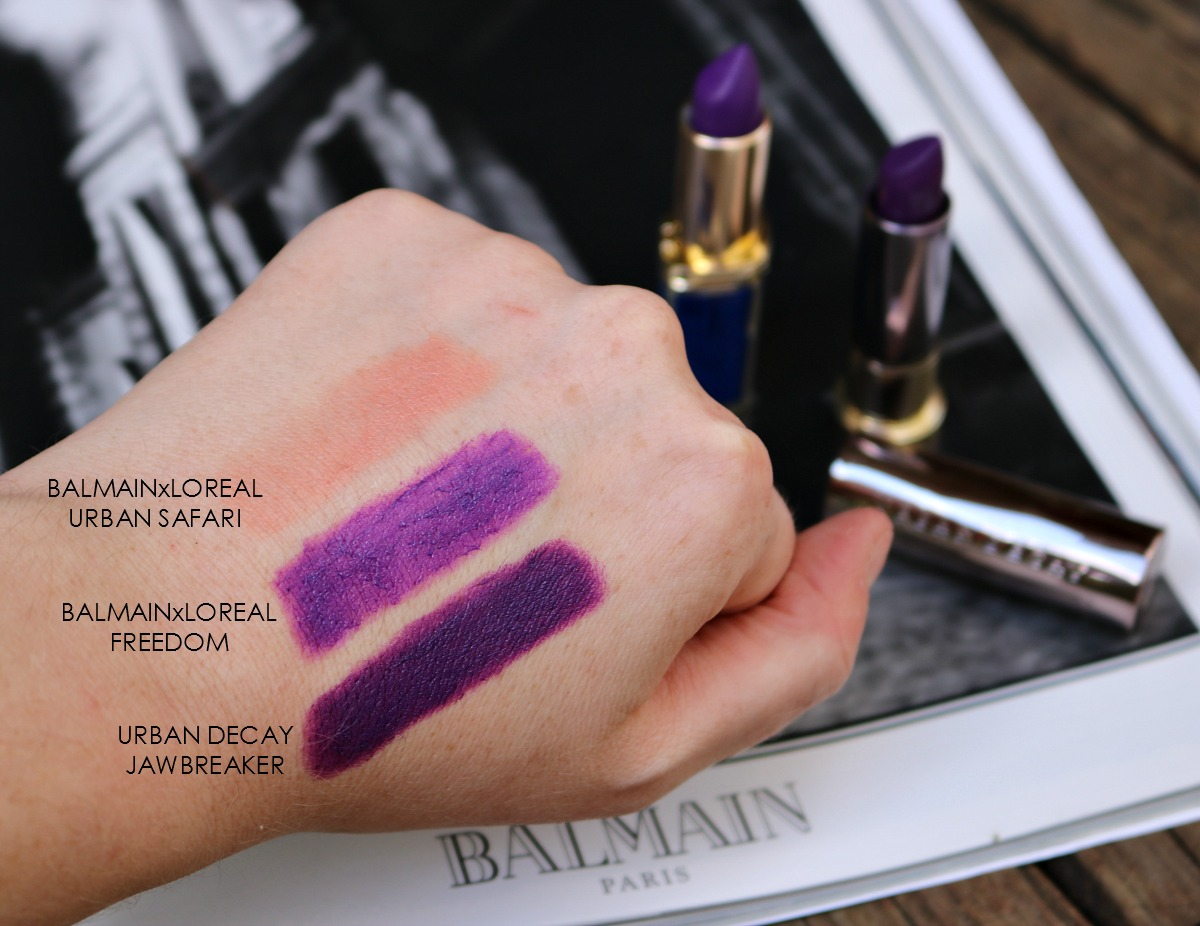 Balmain Loreal Lipstick v Urban Decay Vice Lipstick I Swath Comparison