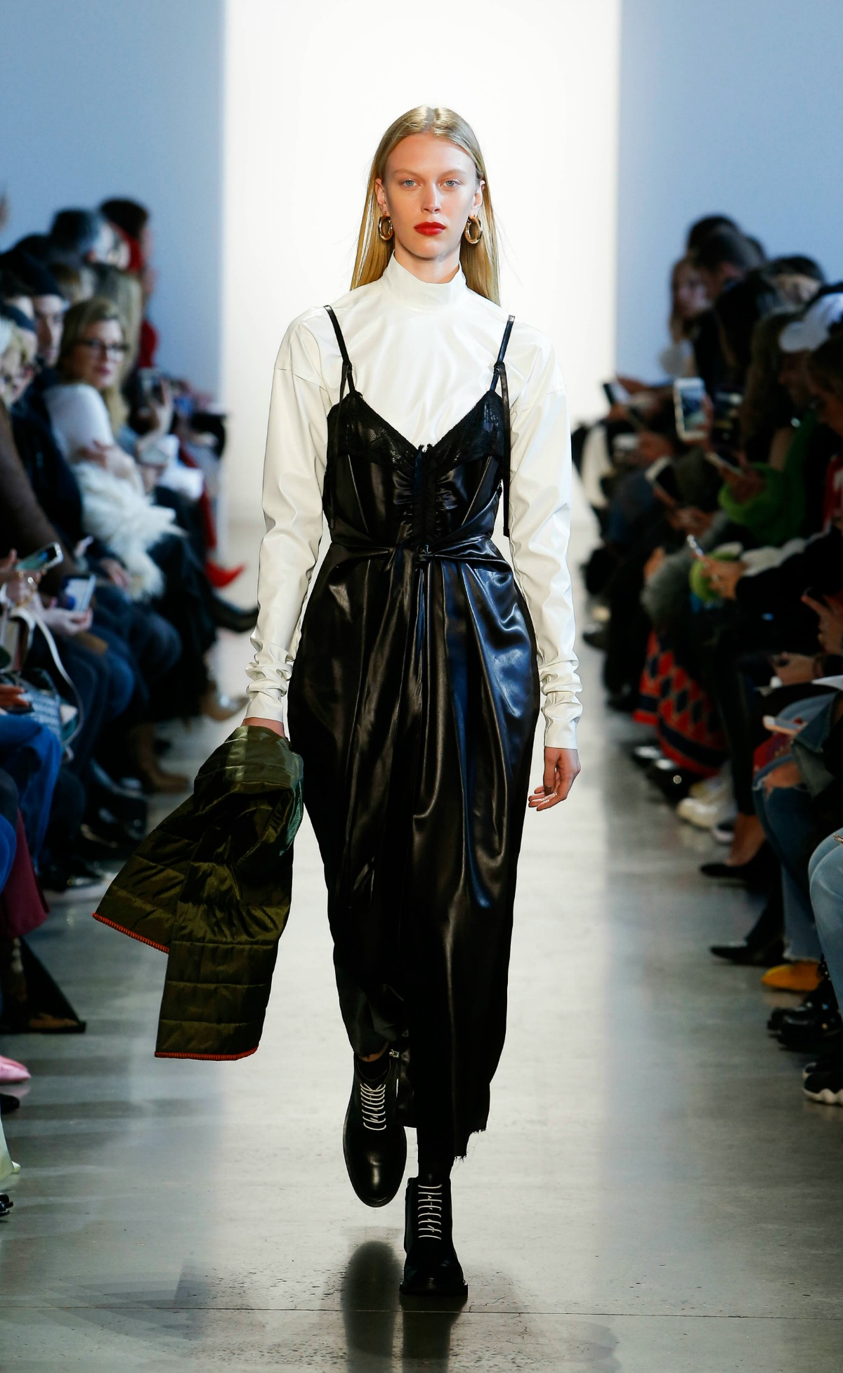 COLOVOS Fall 2018 Runway at NYFW I Faux Leather Dress and Turtleneck #NYFW #WinterFashion